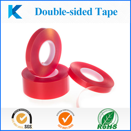 Red/Yellow Bopp liner PET Double-sided tape with acrylic adhesive for plastic and metal parts bonding