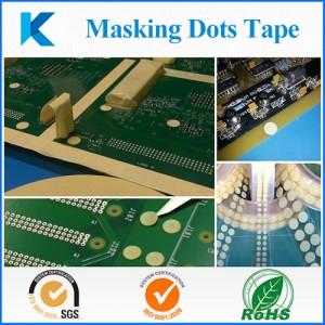 PET Green masking dots tape for painting  used to mask a specific area on a PCB during a hydrophobic coating process
