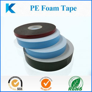Blue/red/green liner white/black PE foam acrylic adhesive tape for panel/door/window furniture bonding
