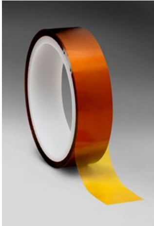 Amber High Temperature Polyimide Tape 7412P, used for PCB solder masking and other high temperature applications